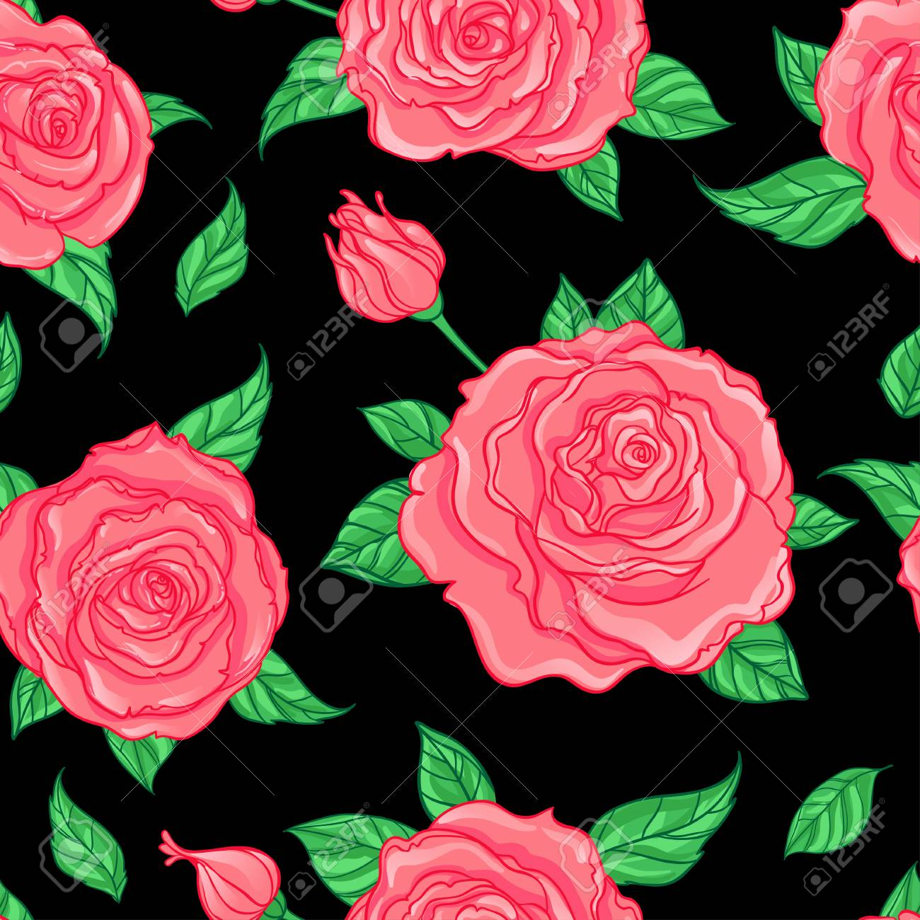 Red Roses Over White Background Seamless Elegant Vintage Floral Pattern Design For Fabric