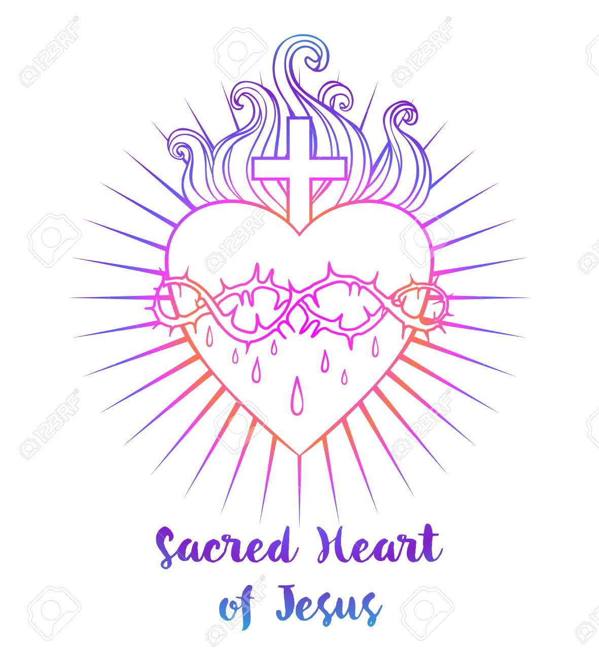 Sacred Heart Of Jesus. Vector Illustration In Vivid Colors Isolated ...