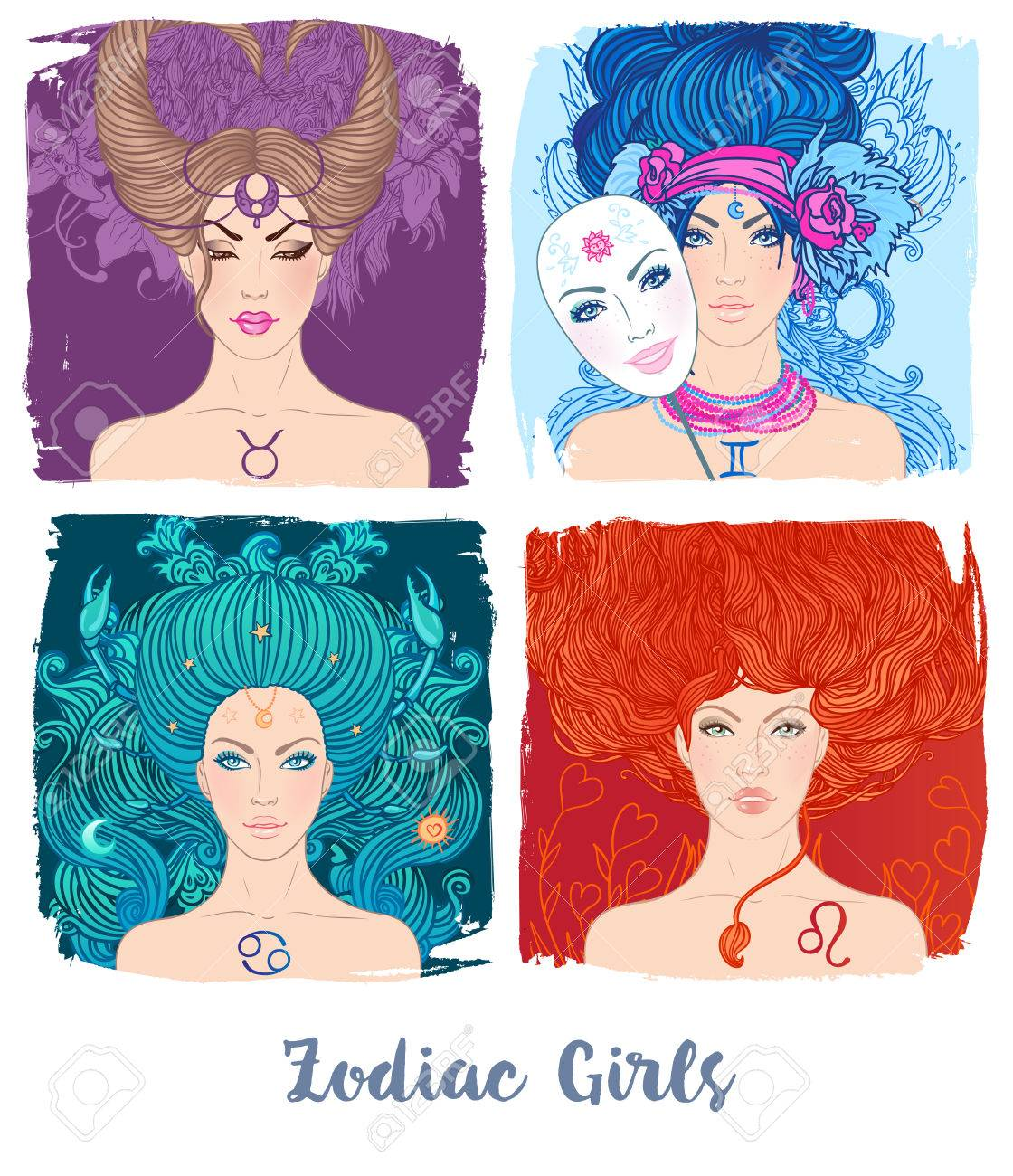 Zodiac Girls Set Vector Illustration Of Astrological Signs As