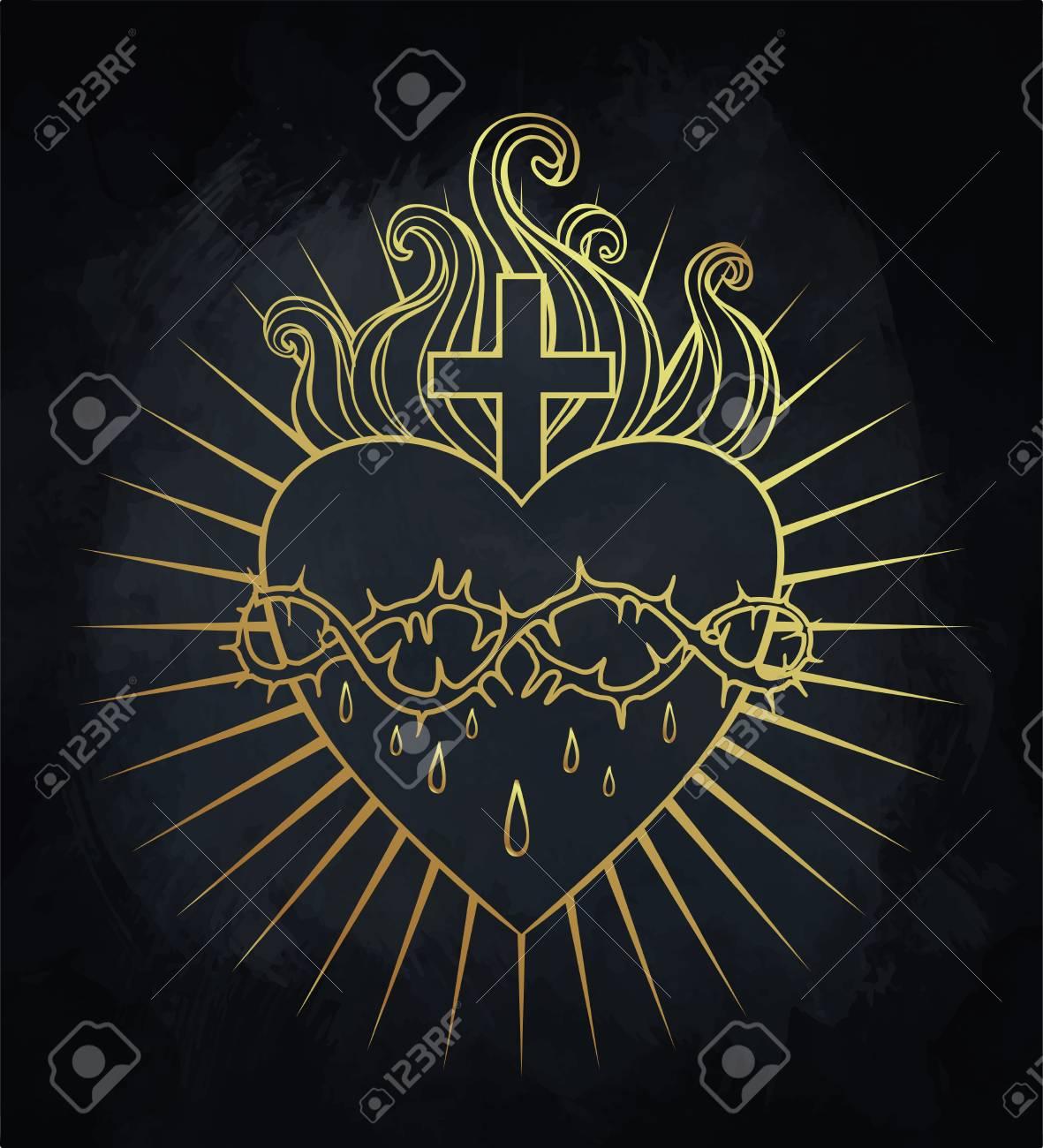 Sagrado Corazón De Jesús Ilustración Vectorial En Colores Dorados