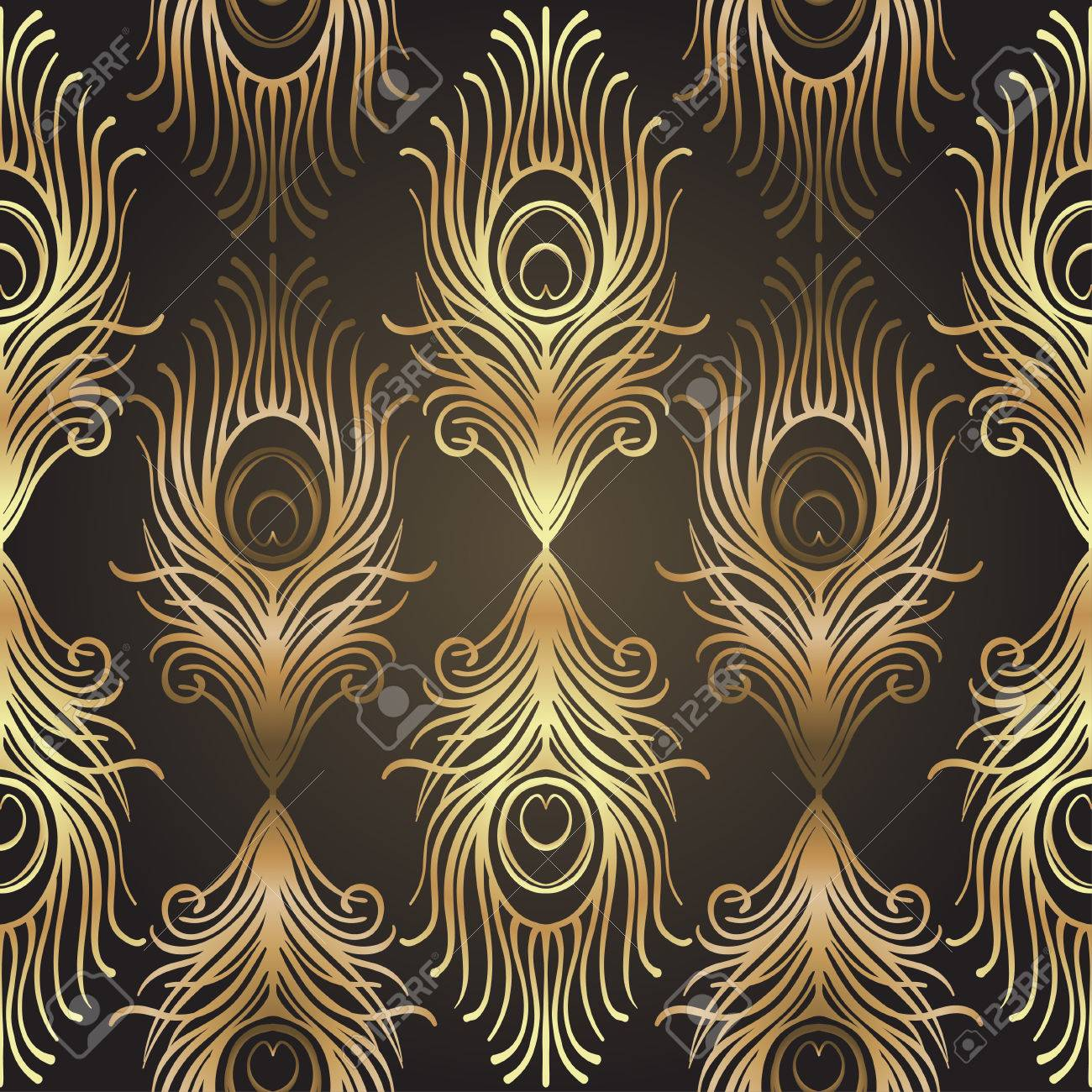 Art deco style geometric seamless pattern in black and gold