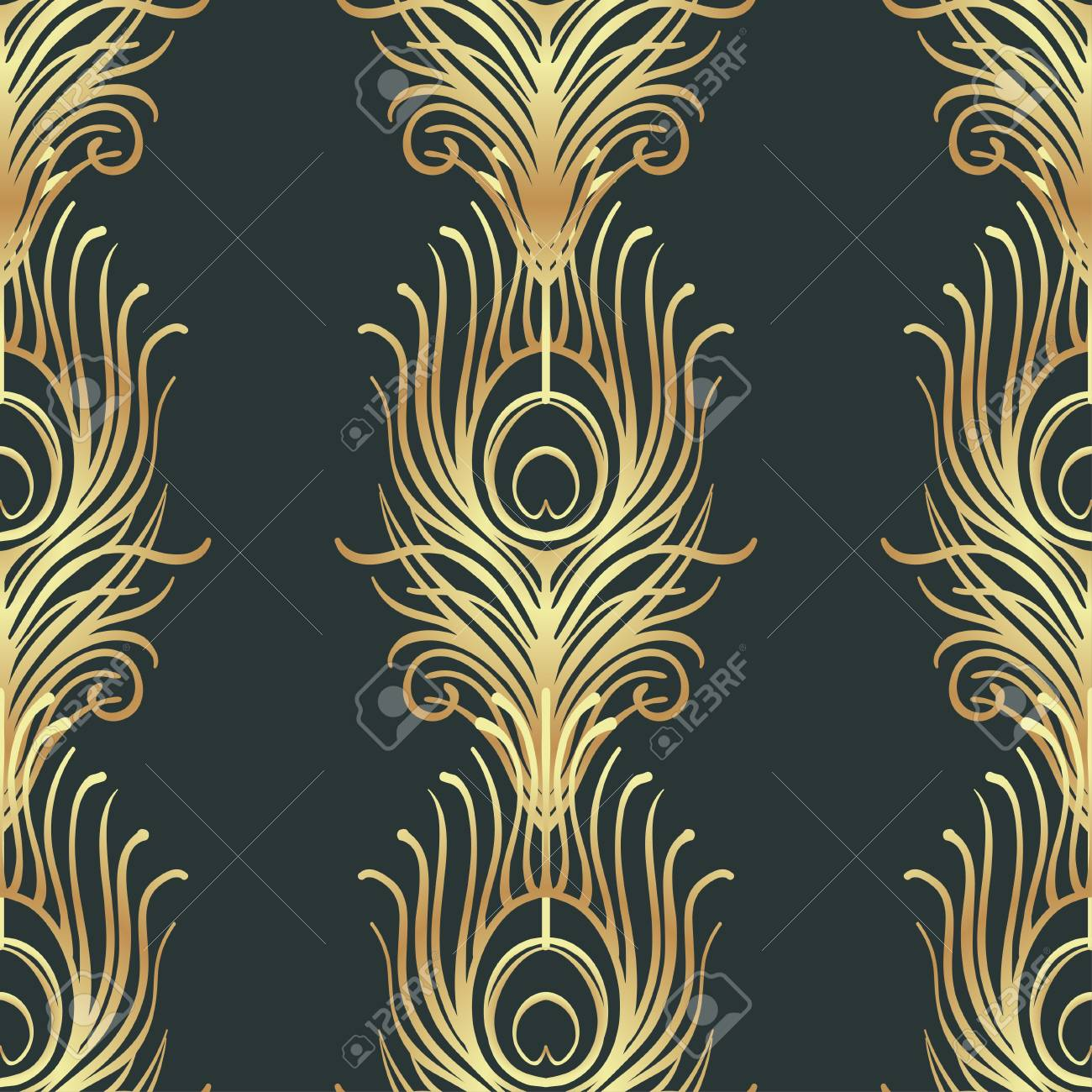 Art Deco Style Geometric Seamless Pattern In Black And Gold Vector Illustration Roaring 1920s