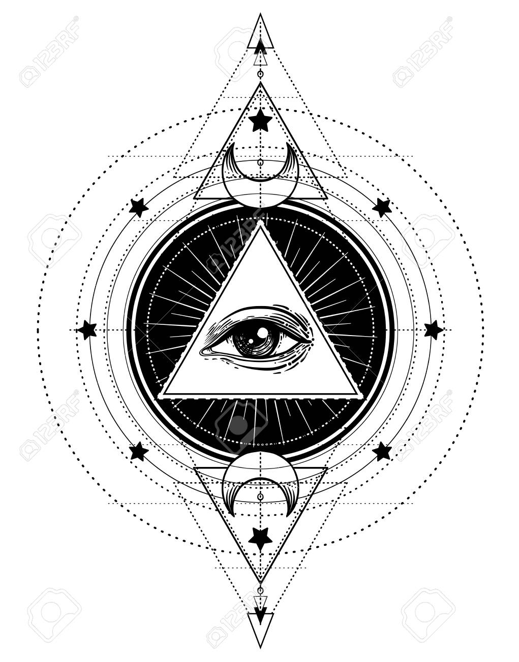Blackwork Tattoo Flash Eye Of Providence Masonic Symbol All Seeing Inside Triangle