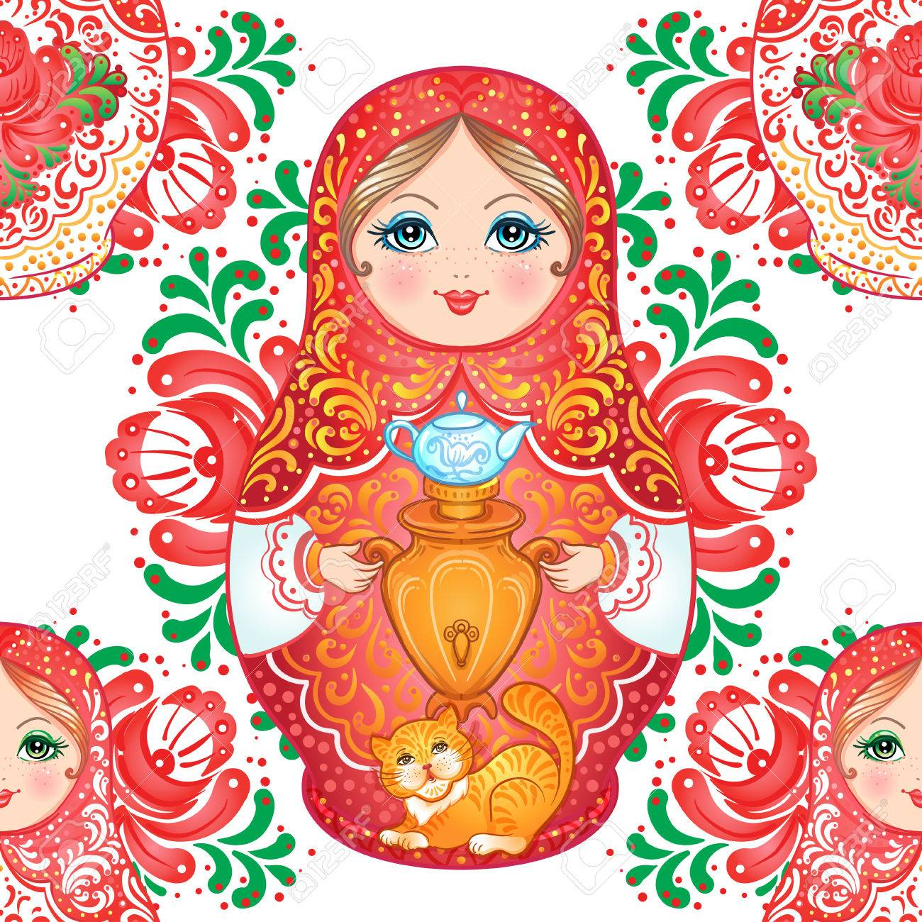 Babushka (matryoshka) seamless pattern. Traditional Russian wooden nesting doll with painted flowers. Folk arts and crafts. Vector illustration in cartoon style. Retro Souvenir from Russia - 87434721