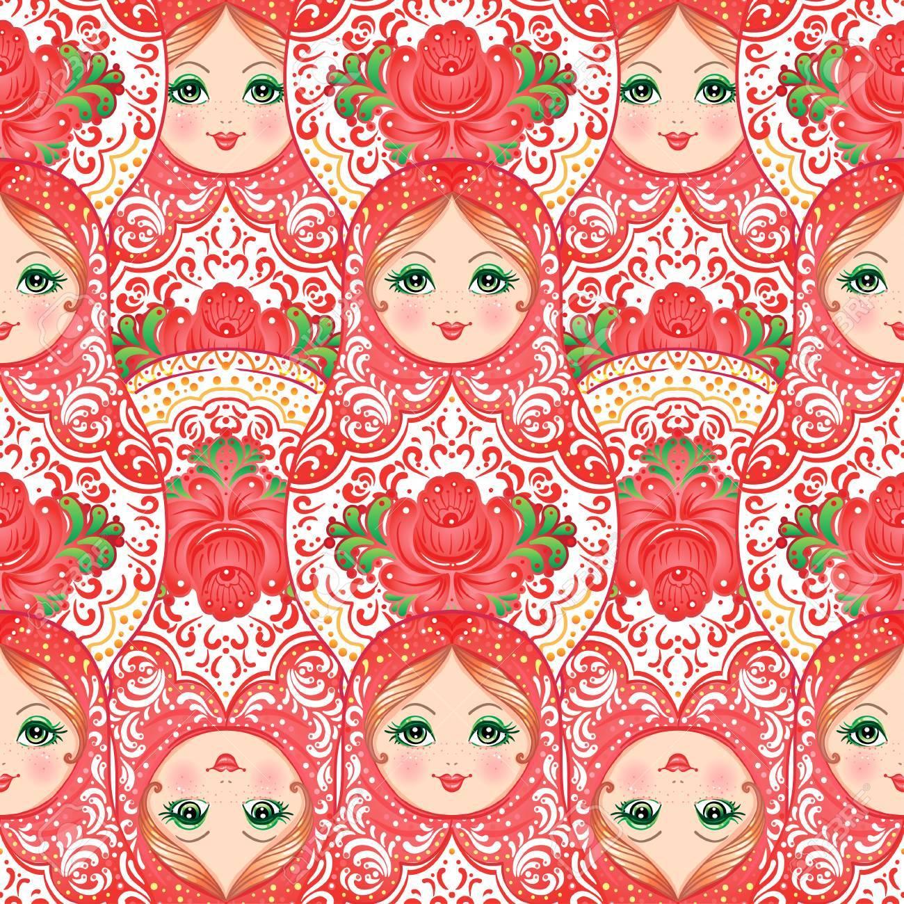 Babushka Matryoshka Seamless Pattern Traditional Russian Wooden Nesting Doll With Painted Flowers