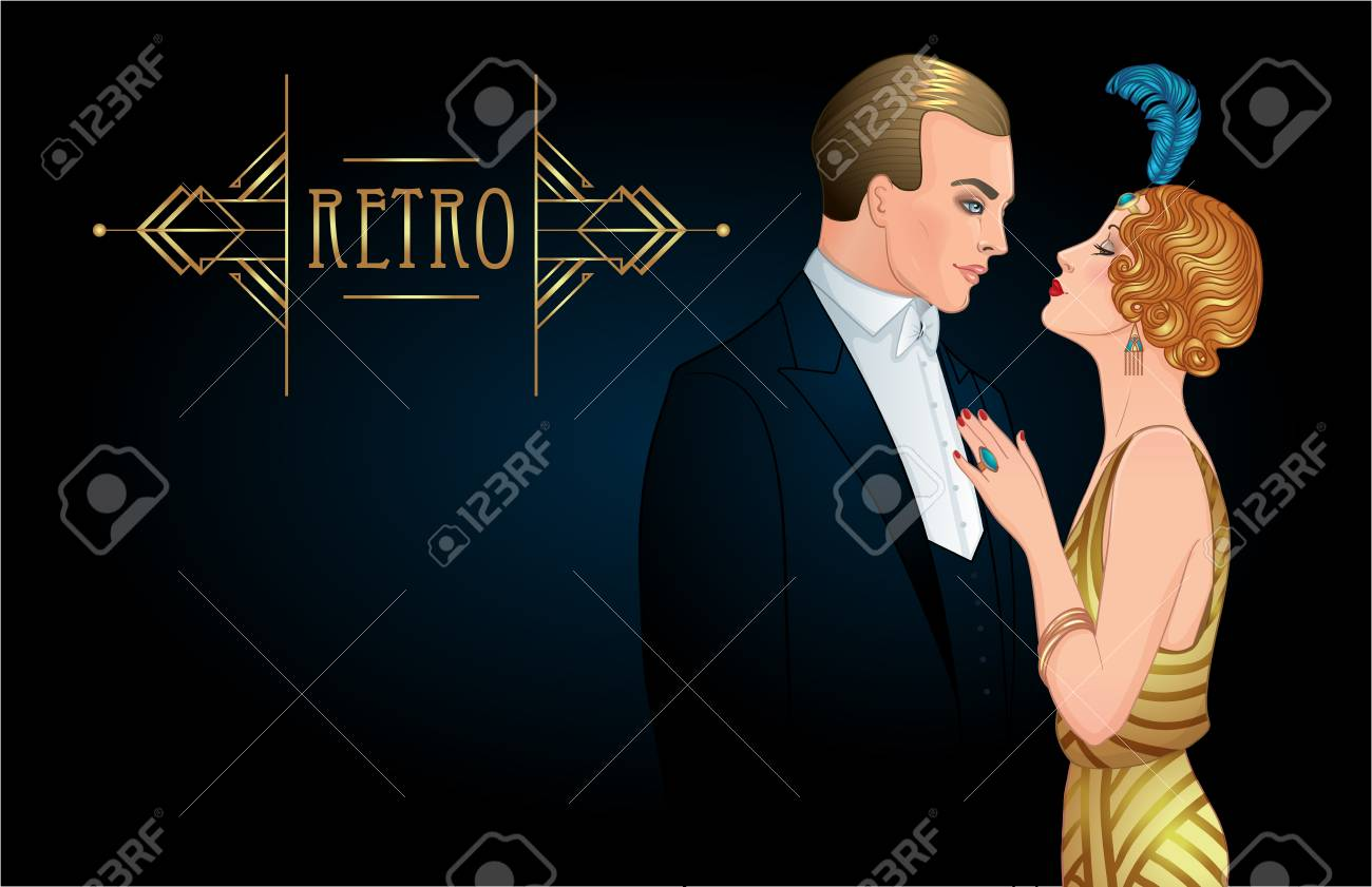 Beautiful couple in art deco style. Retro fashion: glamour man and woman of twenties. Vector illustration. Flapper 20's style. Vintage party or thematic wedding invitation design template. - 87434732