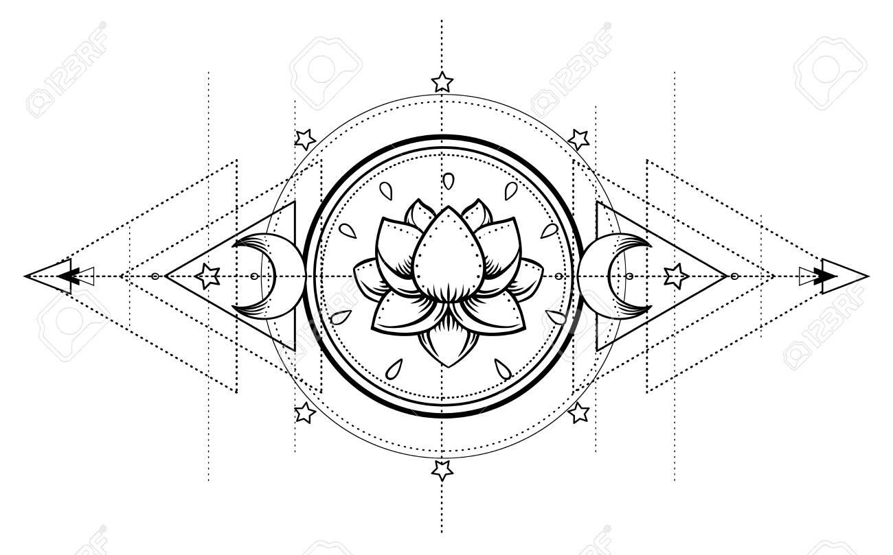 Lotus and Sacred Geometry. Ayurveda symbol of harmony and balance, and universe. Tattoo flesh design, yoga logo. Boho print, poster, t-shirt textile. Anti stress book. Isolated vector illustration. - 87434734