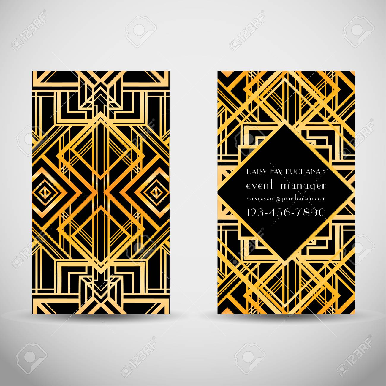 Art Deco Style Business Card Template. Abstract Vintage Patterns ...