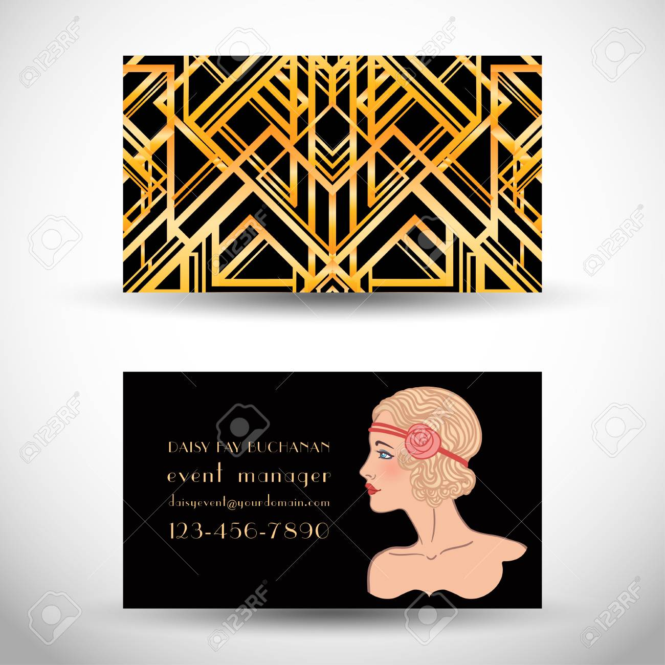 Art Deco Style Business Card. Abstract Vintage Patterns And ...