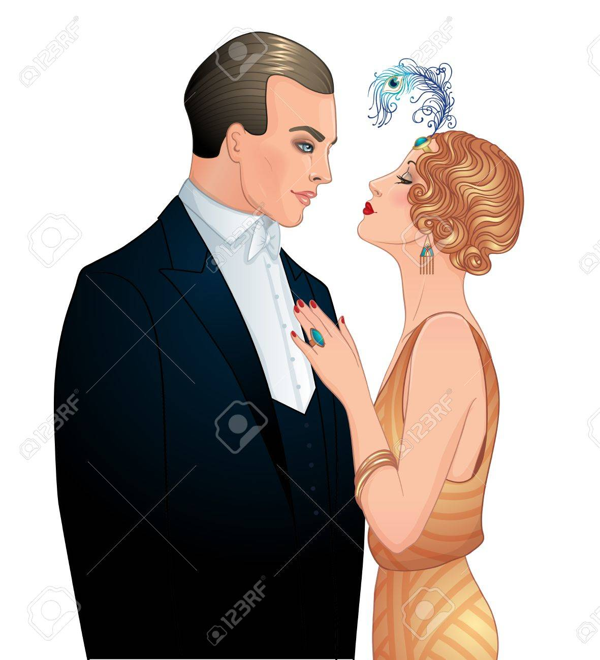 Beautiful couple in art deco style. Retro fashion: glamour man and woman of twenties. Vector illustration. Flapper 20's style. Vintage party or thematic wedding invitation design template. - 87434802