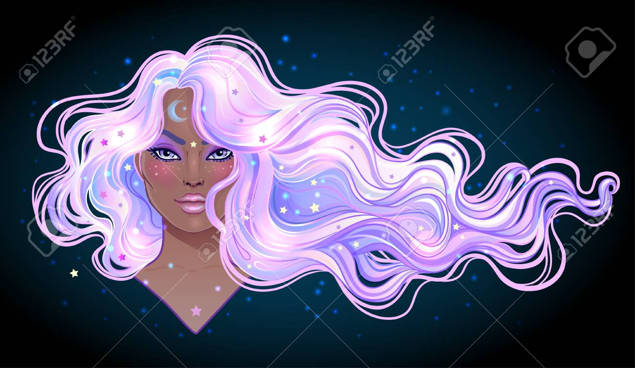 Dark magic. Mysterious girl with galaxy make up and with the sky full of stars in her hair, dyed purple. Art nouveau inspired. Astrology, mysticism concept. Vibrant colors. Vector zodiac illustration. - 87434849