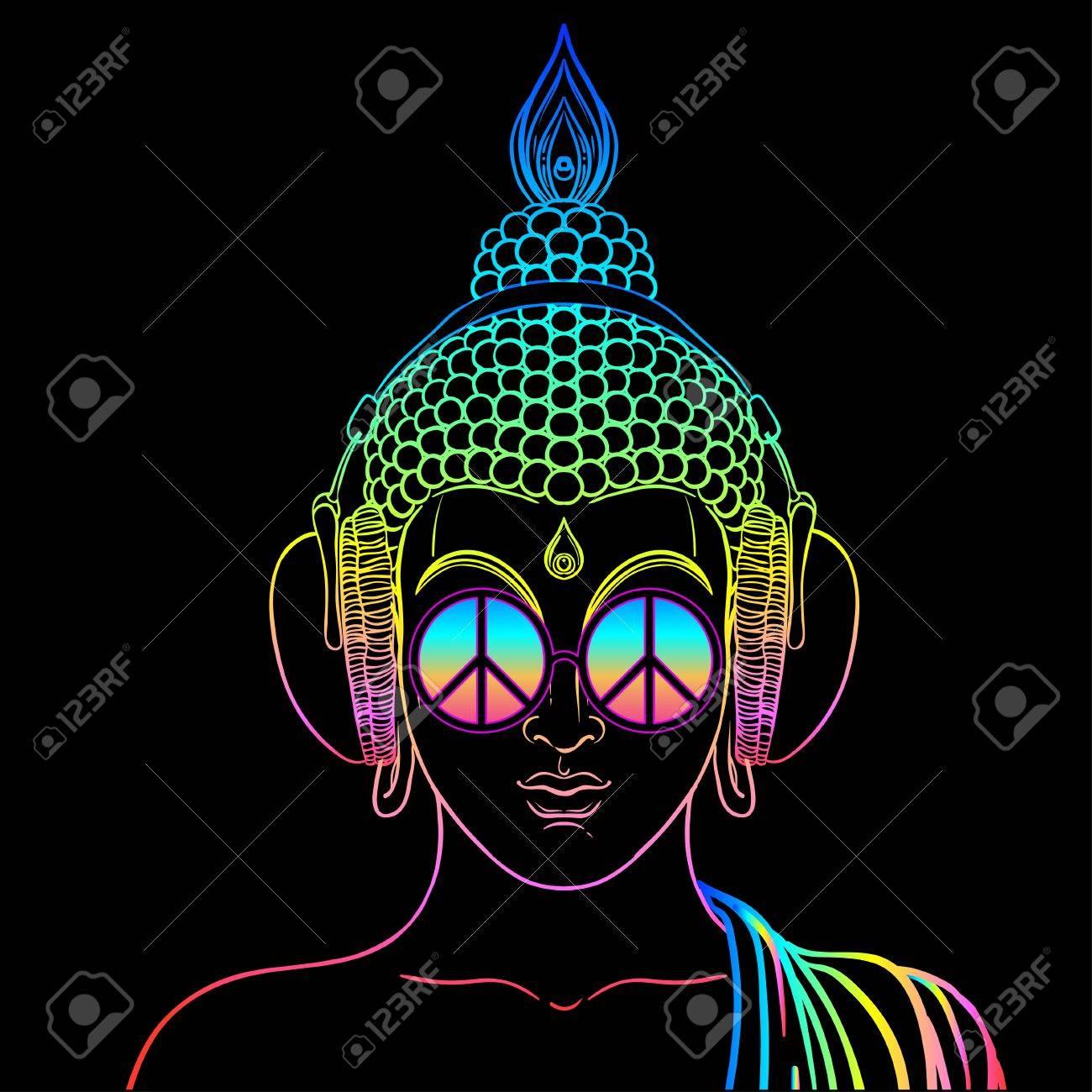 Frieden Und Liebe Bunter Buddha In Den Regenbogenglasern Horend