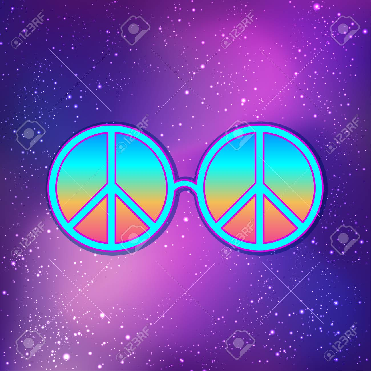 e06ecb14cc Round glasses with hippie peace sign over cosmic purple background.  Woodstock style poster template.