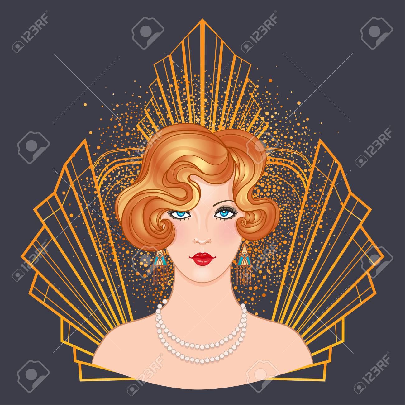 Art Deco Vintage Invitation Template Design With Illustration Of Flapper Girl Patterns And Frames: 1920s Wedding Invitation Clip Art At Reisefeber.org