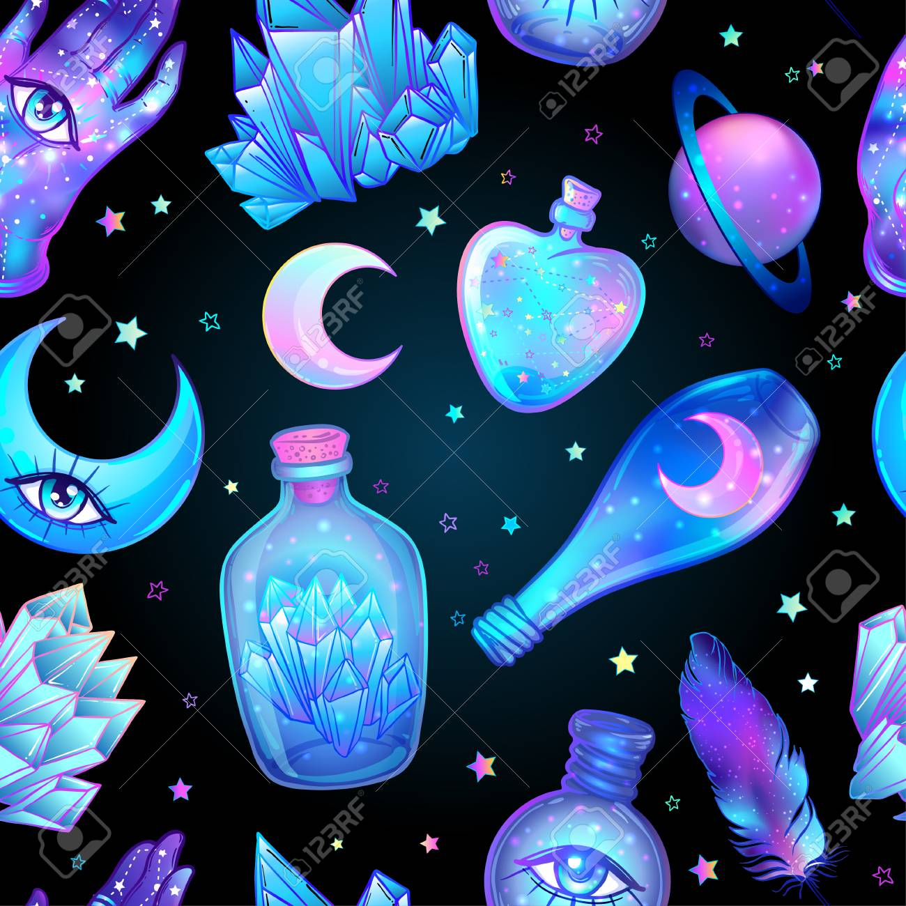 Vector seamless pattern with glass flasks  Magic potions: tubes