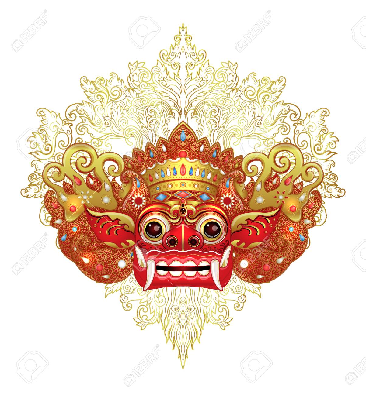 Barong. Traditional ritual Balinese mask. Vector color illustration in red, gold and black isolated. Hindu ethnic symbol, tattoo art, yoga, Bali spiritual design for print, poster, t-shirt, textile. - 99538696