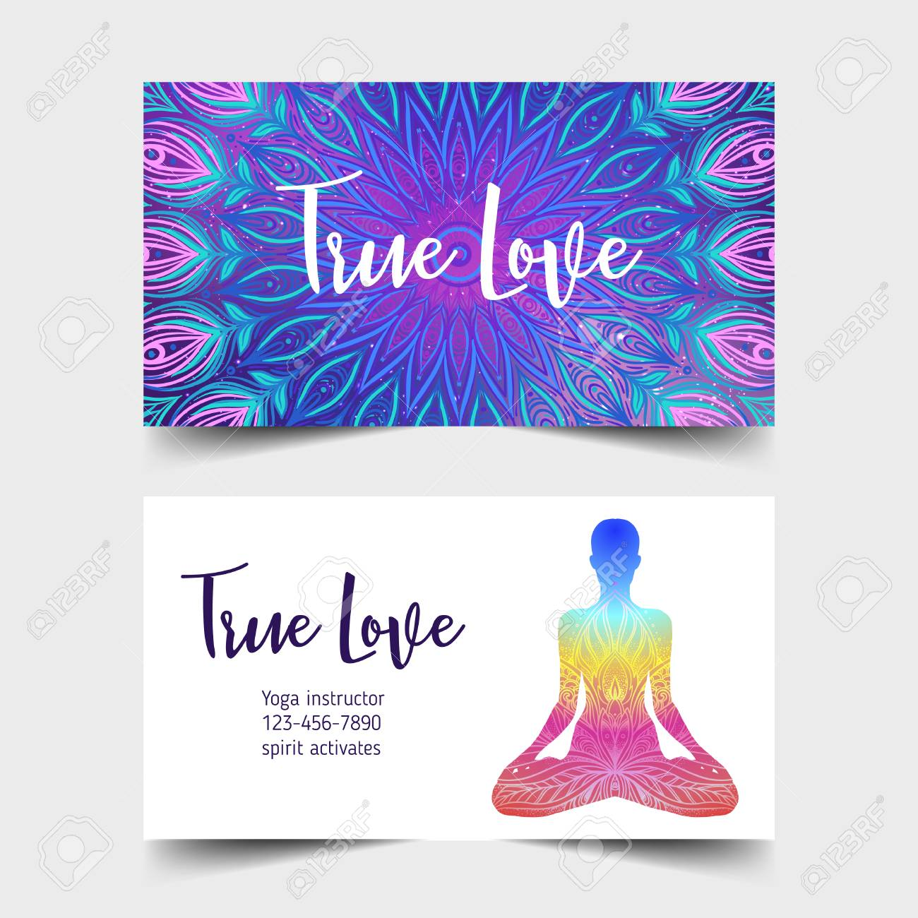 True Love. Yoga Card Design. Colorful Template For Spiritual ...