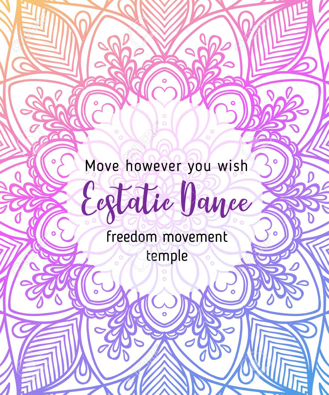 Ecstatic Dance Yoga Card Design, Colorful Template For Spiritual ...