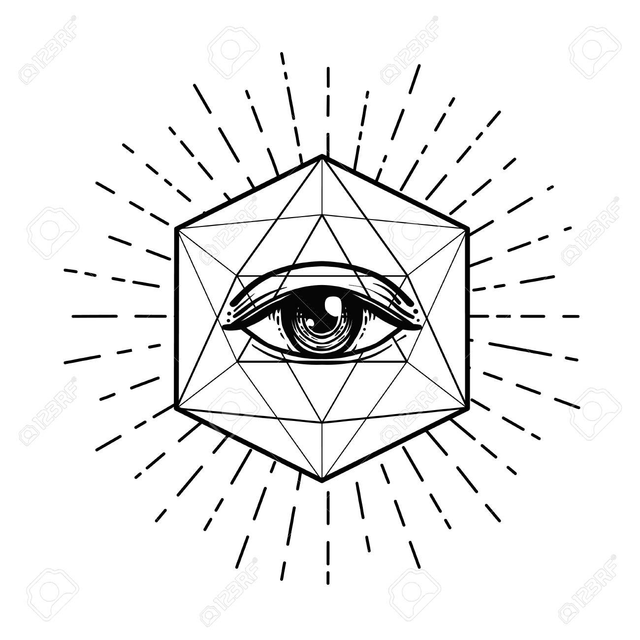 Black Work Tattoo Flash Eye Of Providence Masonic Symbol All Royalty Free Cliparts Vectors And Stock Illustration Image 99729368