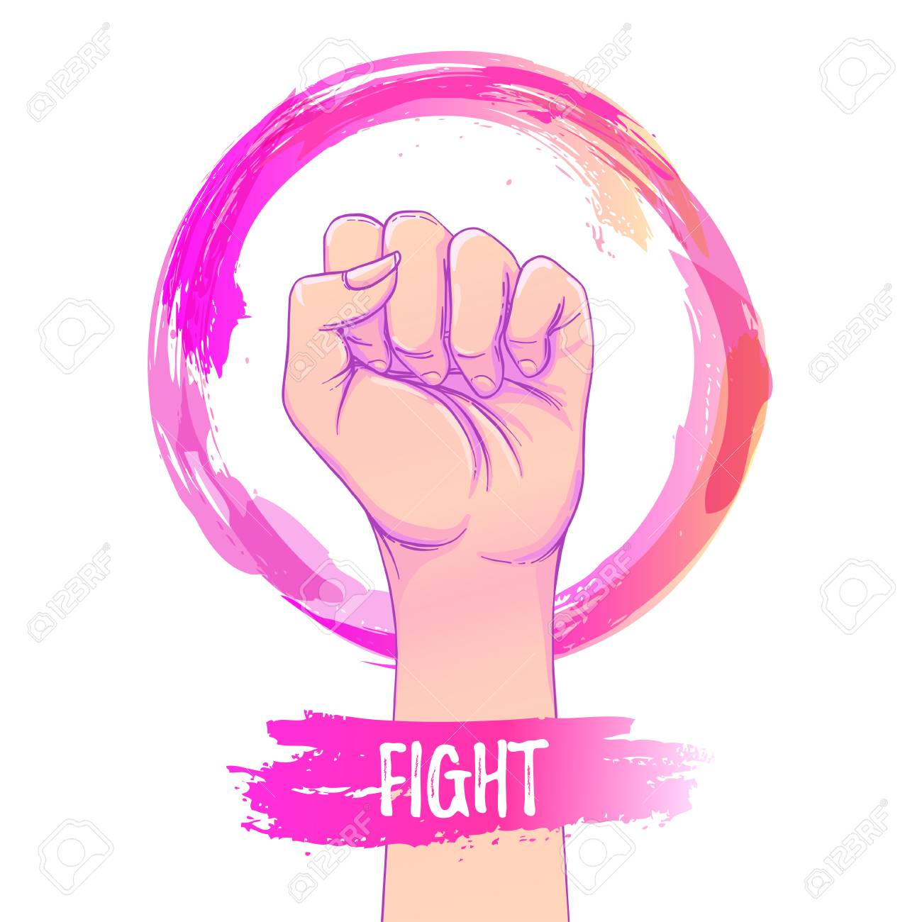 Womens March Female Hand With Her Fist Raised Up Girl Power