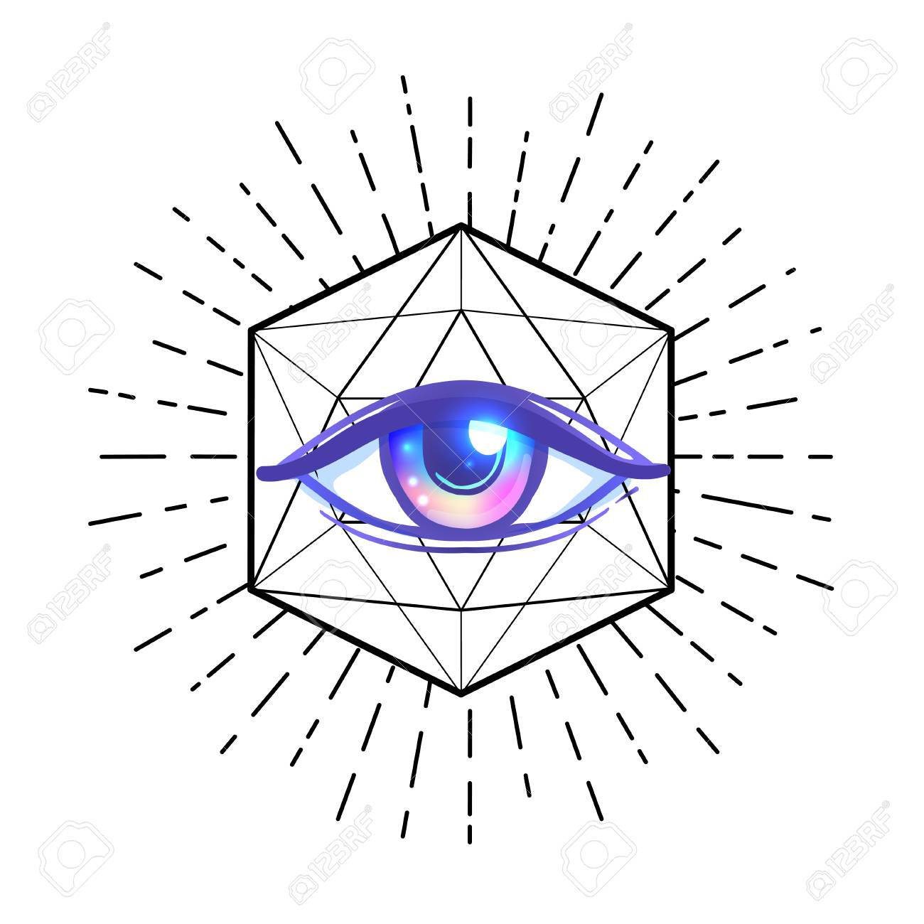 Blackwork Tattoo Flash Eye Of Providence Masonic Symbol All