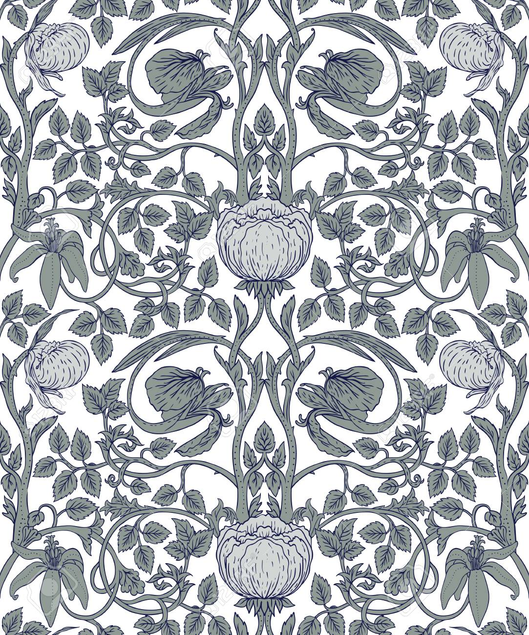 Floral Vintage Seamless Pattern For Retro Wallpapers Textiles Royalty Free Cliparts Vectors And Stock Illustration Image 99692735