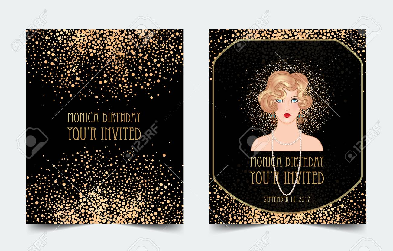 art deco vintage invitation template design with illustration of flapper girl patterns and frames