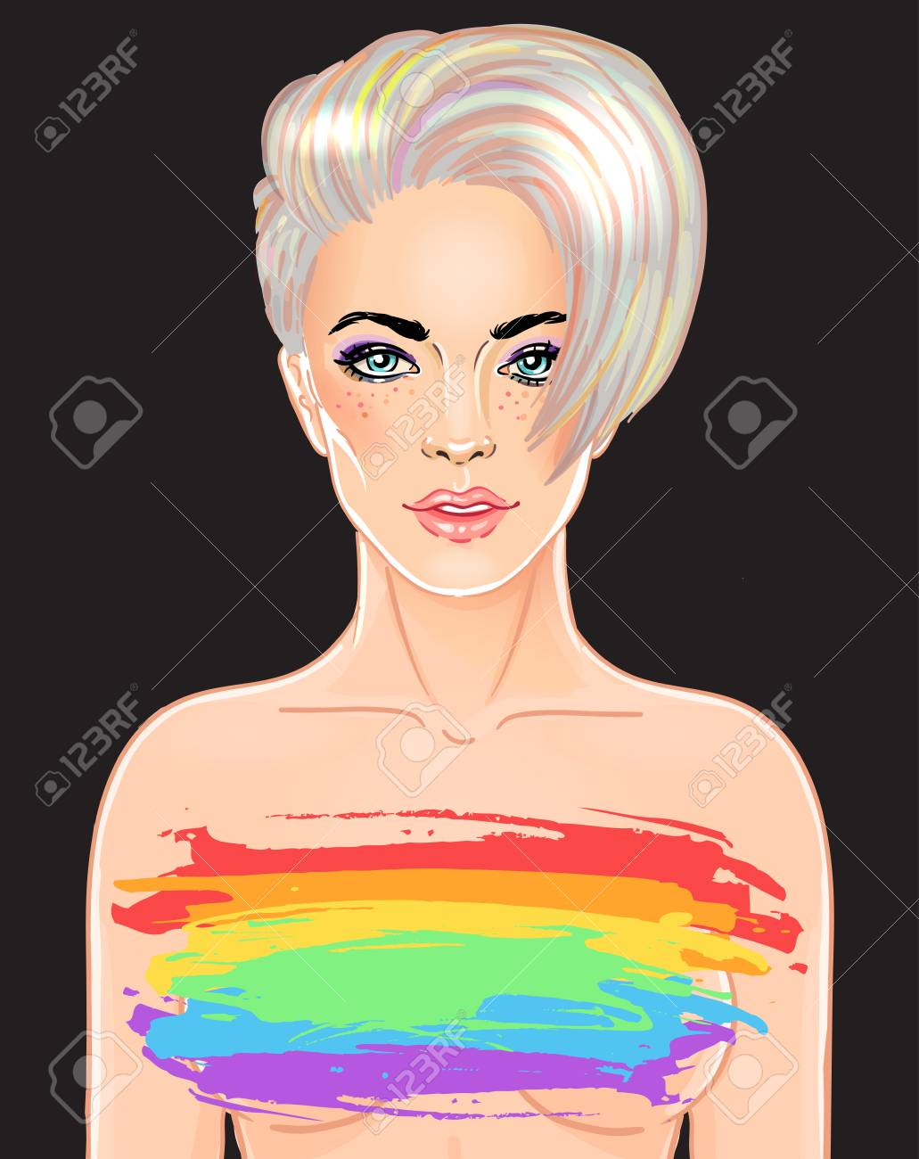 Portrait Of A Young Pretty Woman With Short Pixie Haircut Rainbow