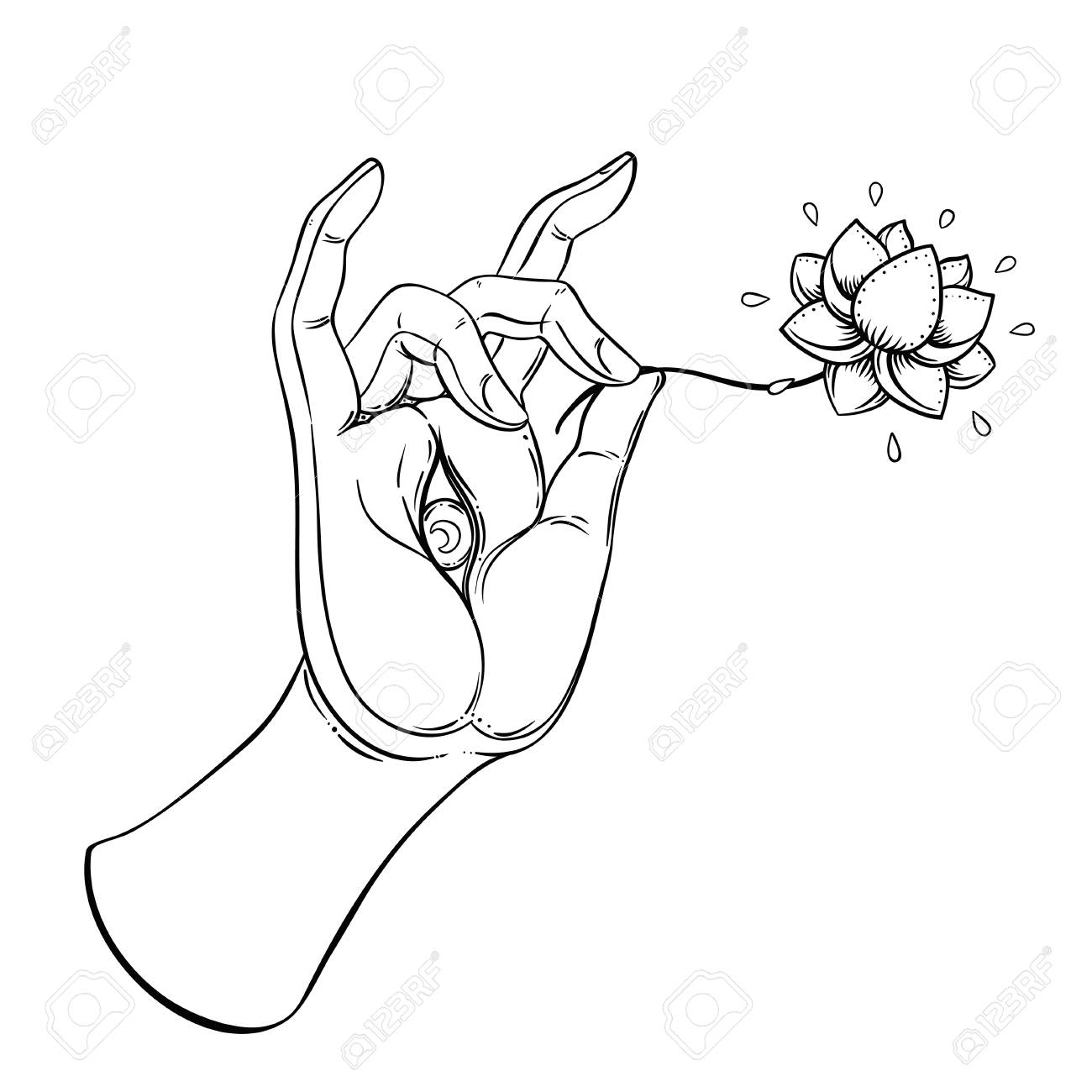 Lord Buddhas Hand With Eye Holding Lotus Flower Isolated Vector
