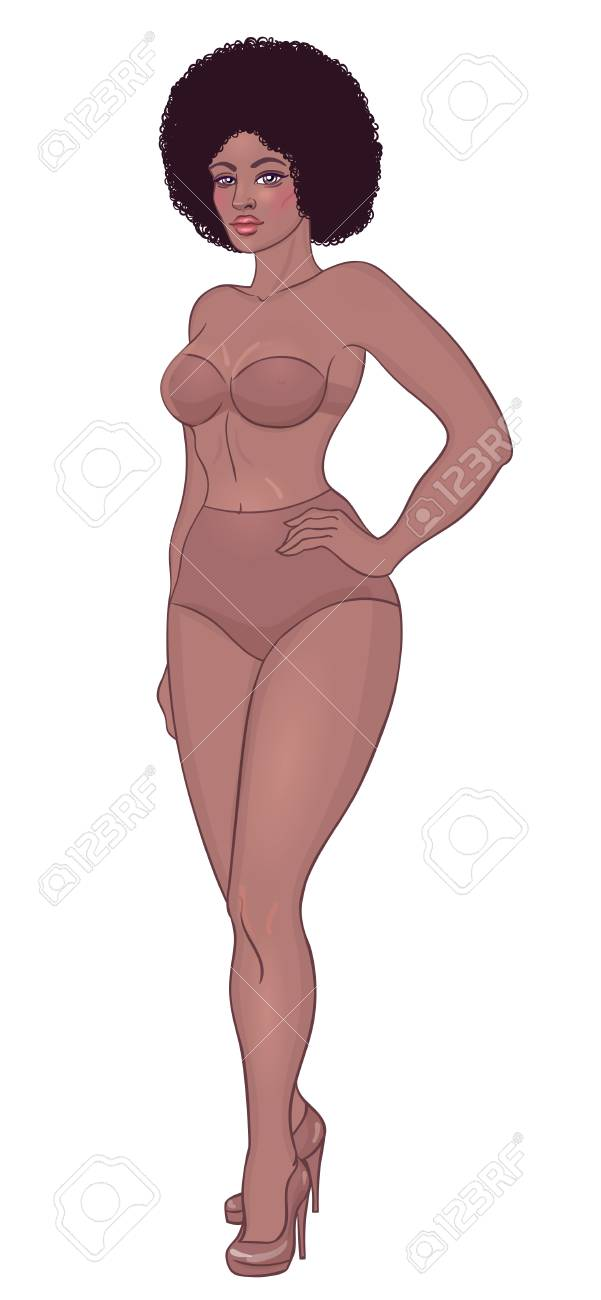d81772211735 Beautiful black woman. Curvy african american girl in underwear isolated on  white. Vector illustration. Plus size model