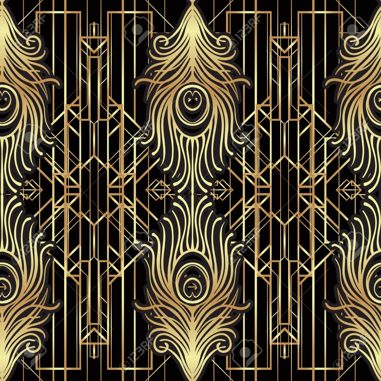 Superb Art Deco Style Geometric Seamless Pattern In Black And Gold Download Free Architecture Designs Grimeyleaguecom