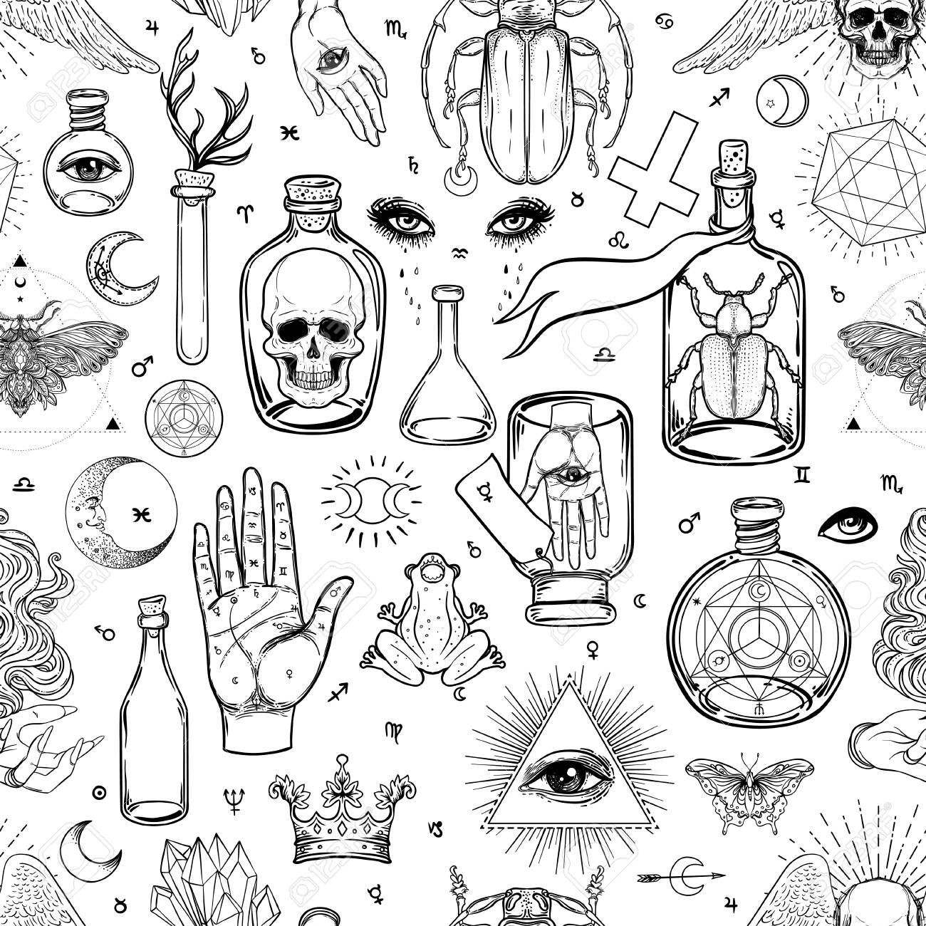 Mystic, magic, background. Religion and the occultism with esoteric and masonic symbols. Medieval manuscript inspired. Vector seamless pattern in retro style. Repeating Trendy stylish texture. - 108021317