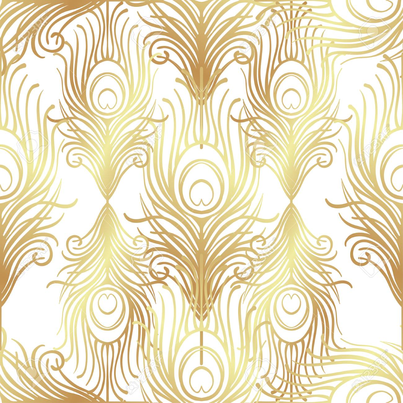 Art Deco Style Geometric Seamless Pattern In Black And Gold ...