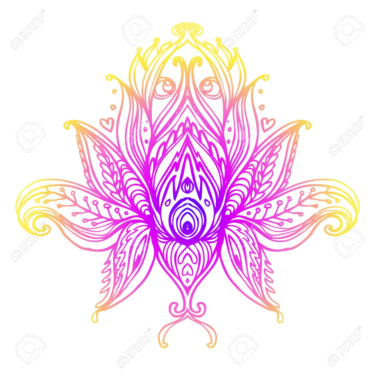 Vector Ornamental Lotus Flower Ethnic Art Patterned Indian