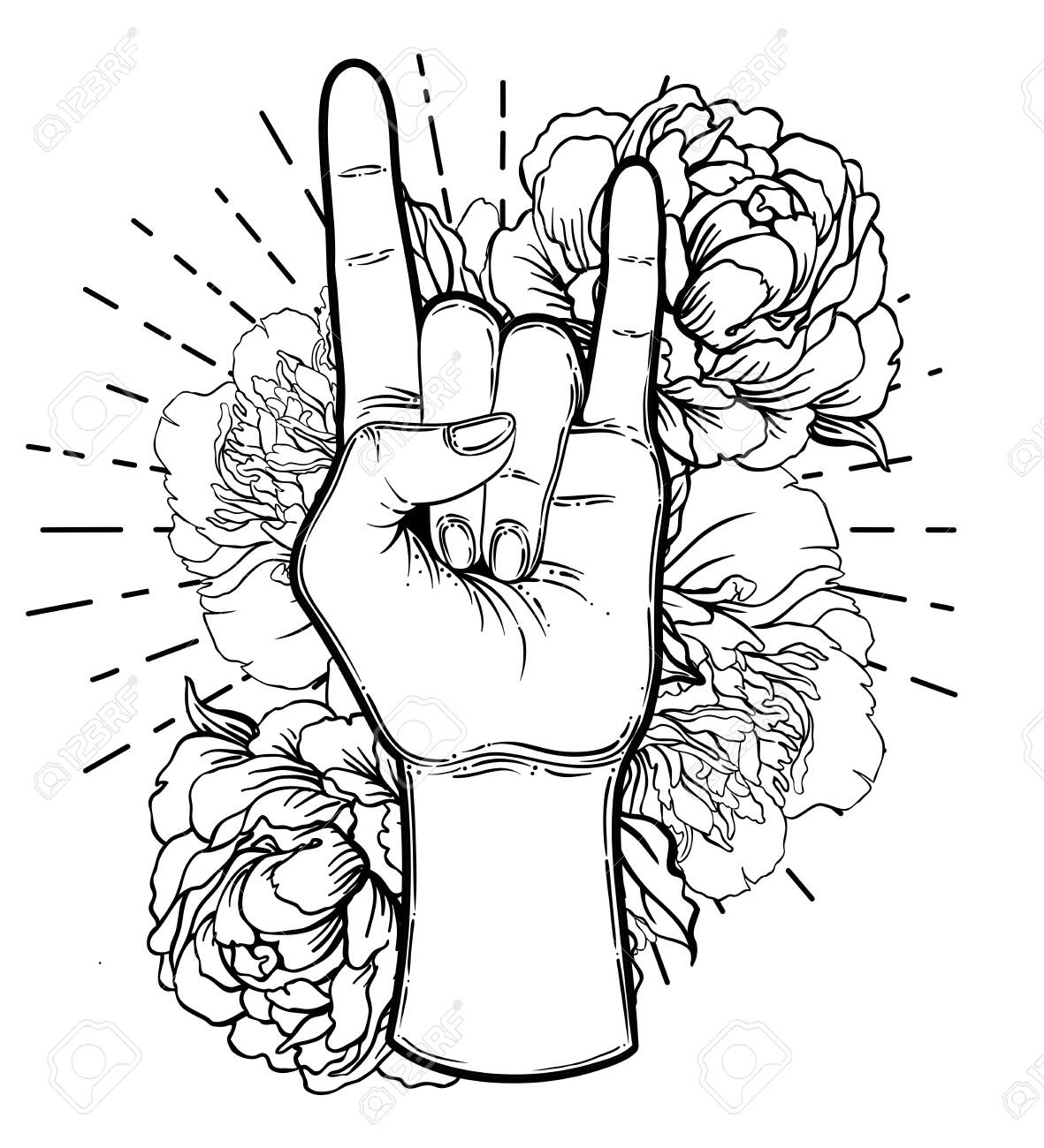 Rock and roll sign. Gesture of Heavy metal culture.