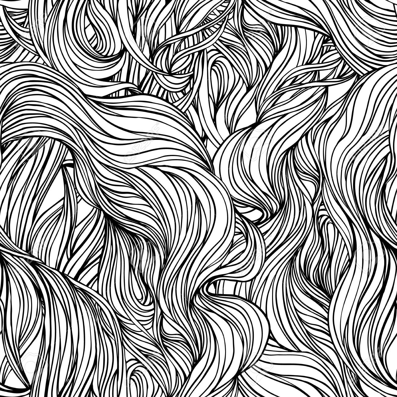 Natural texture. Decorative hand drawn doodle ornamental curly seamless pattern. Vector endless background. Stormy sea line art drawing. Splash ocean, clouds or hair. - 138770373
