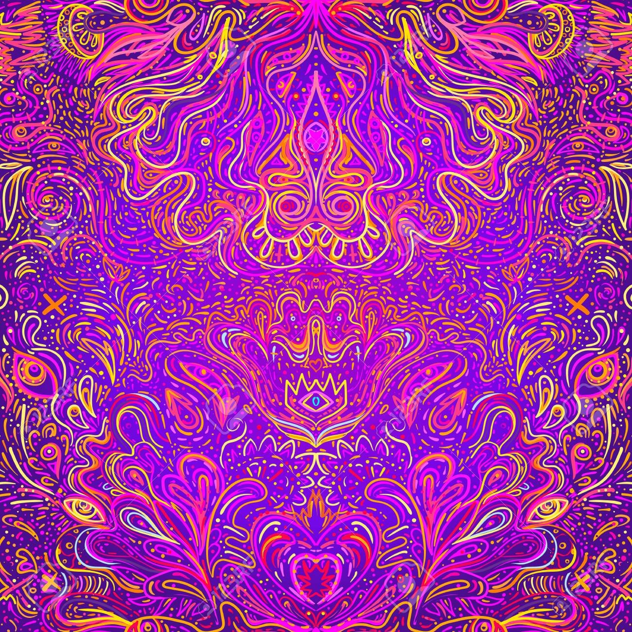 Hypnotic Shamanic Acid Seamless Pattern Hand Drawn Design In