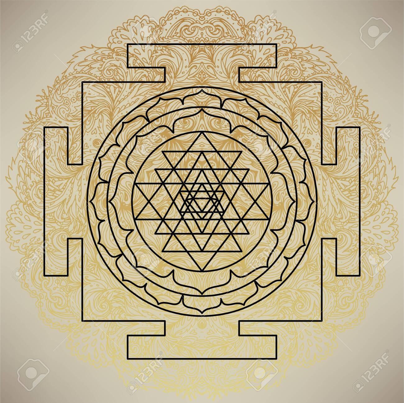The Sri Yantra Or Sri Chakra Form Of Mystical Diagram Shri Vidya School Of Hindu Tantra Symbol Sacred Geometry Vector Design Element Vector Illustration Alchemy Occultism Spirituality Royalty Free Cliparts Vectors And
