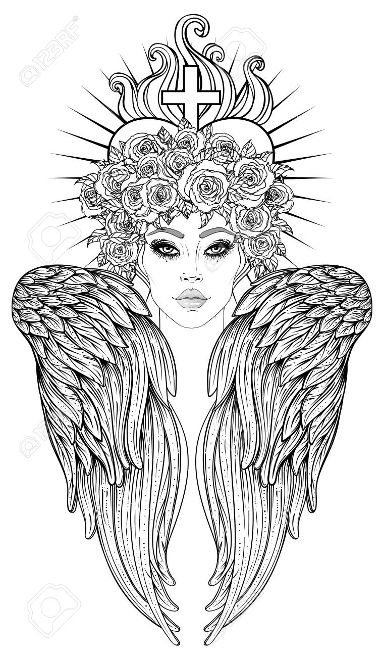 Angel girl with wings and halo. Isolated hand drawn vector illustration. Trendy Vintage style element. Spirituality, occultism, alchemy, magic. Coloring book. - 141189131