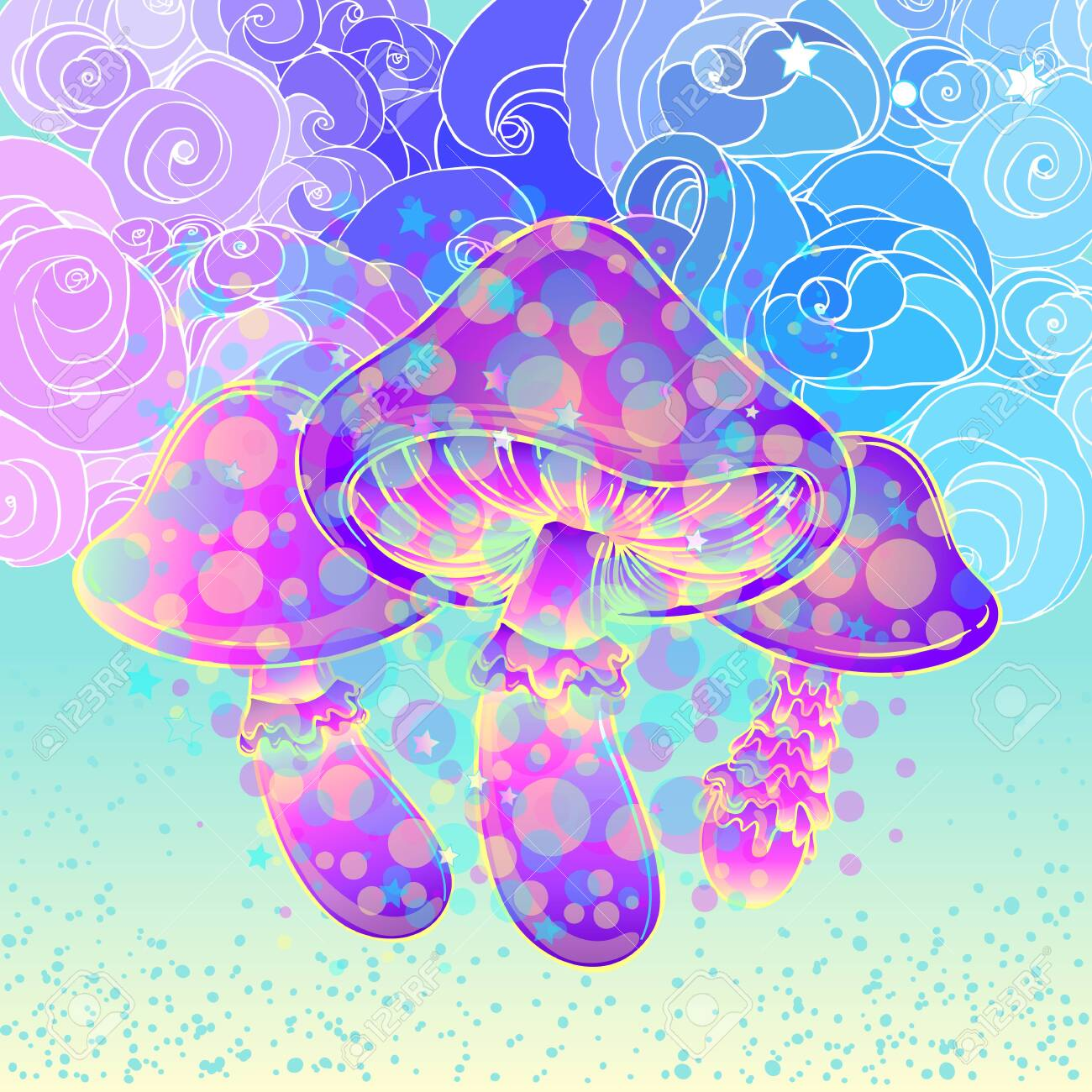 Magic mushrooms over sacred geometry. Psychedelic hallucination. Vibrant vector illustration. 60s hippie colorful art. - 148692618