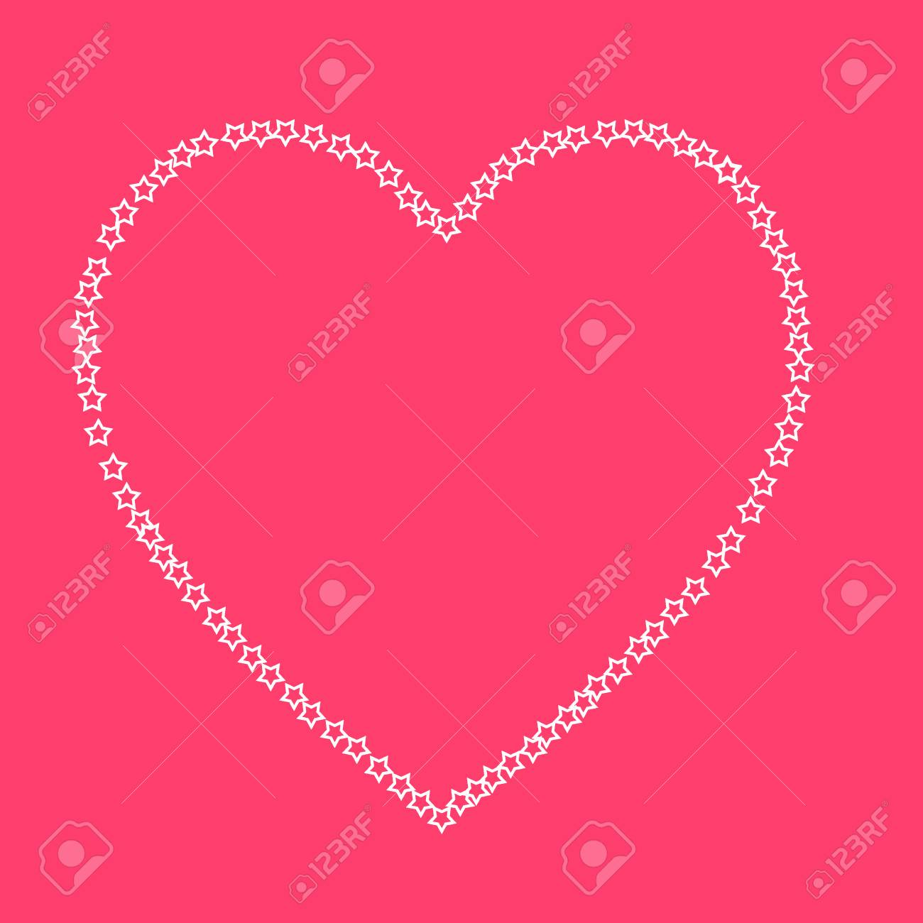 Pink Valentine Card With White Stars And Pink Background Stock Photo