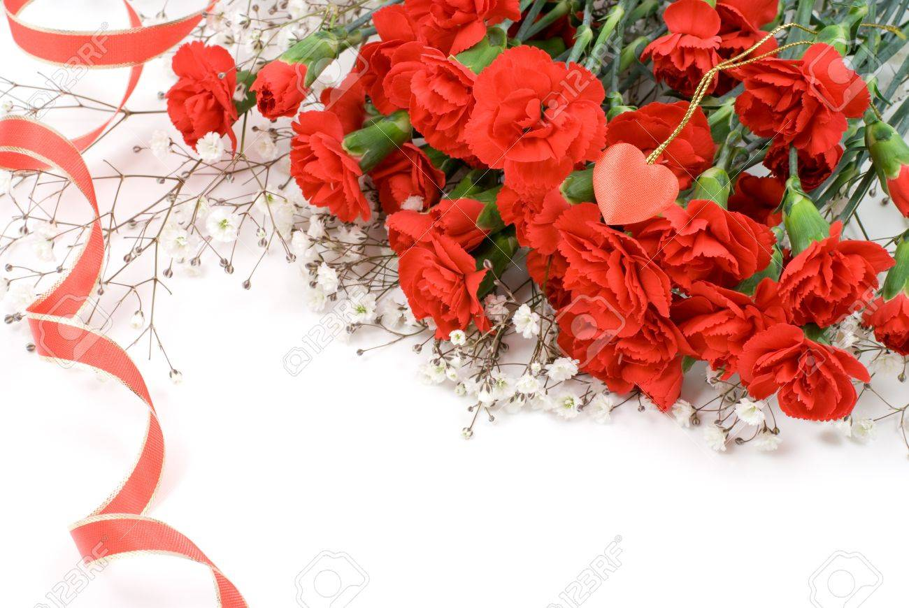 red carnation bouquet and ribbon stock photo picture and royalty