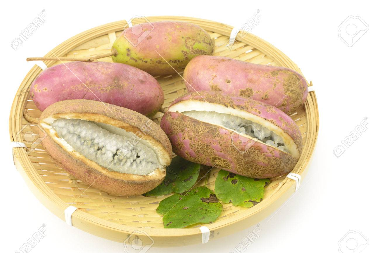 Five Chocolate Vine Fruit And Leaf On The Bamboo Sieve Stock Photo ...