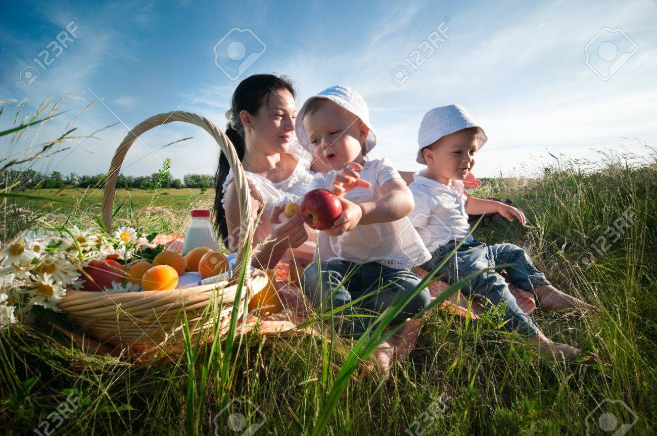 mother with children having picnic Stock Photo - 13355814