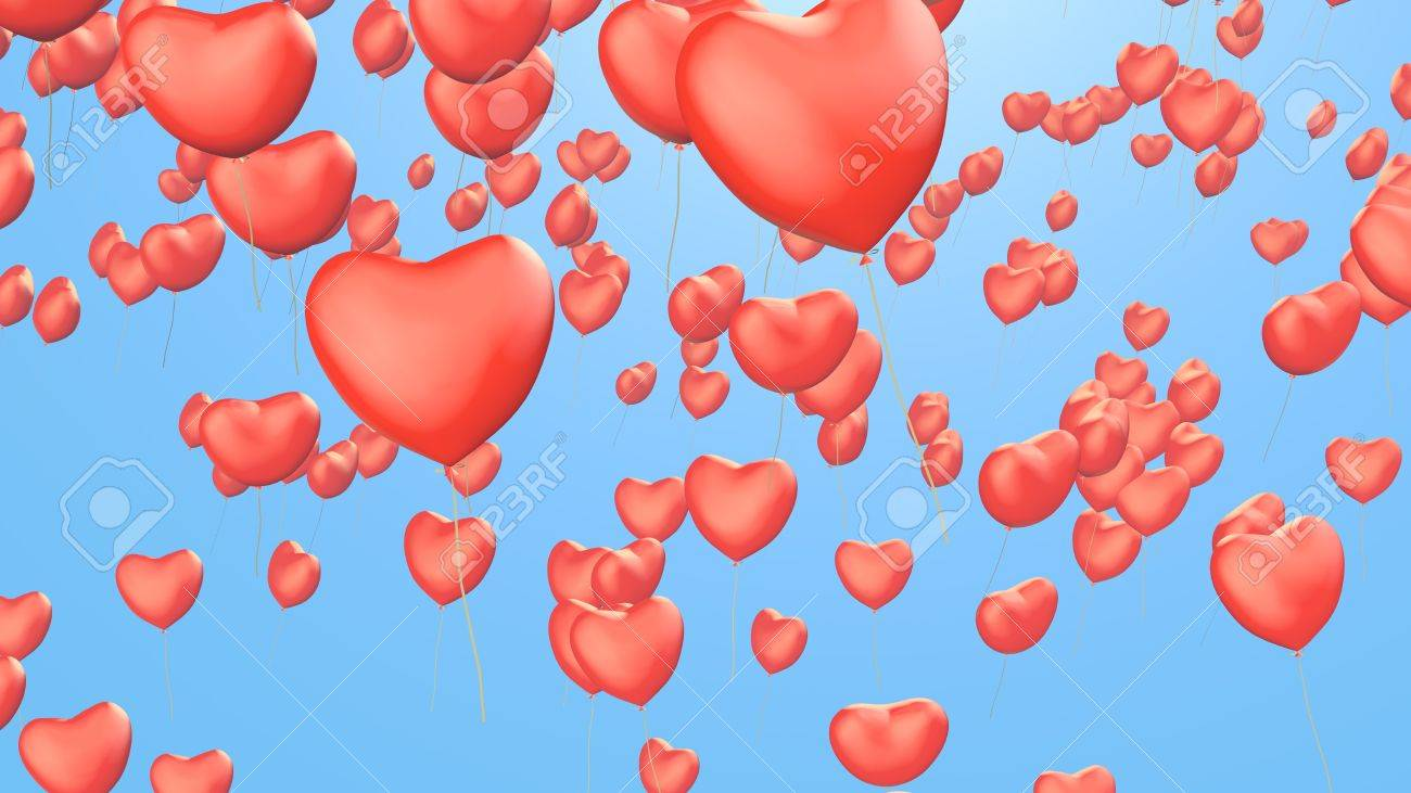 valentines background with heart balloons Stock Photo - 17905220