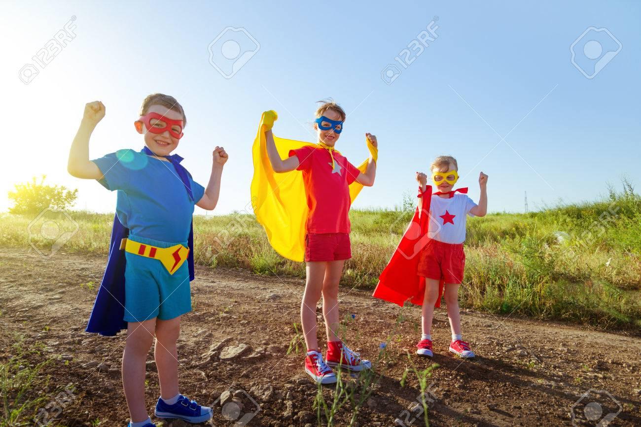 children acting like a superhero - 35362498