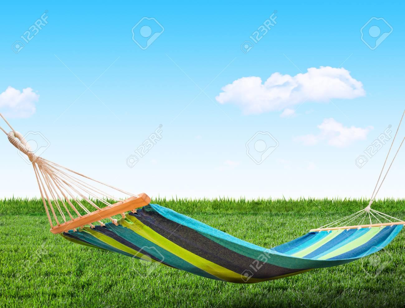 Relaxing on hammock in backyard - 36384133