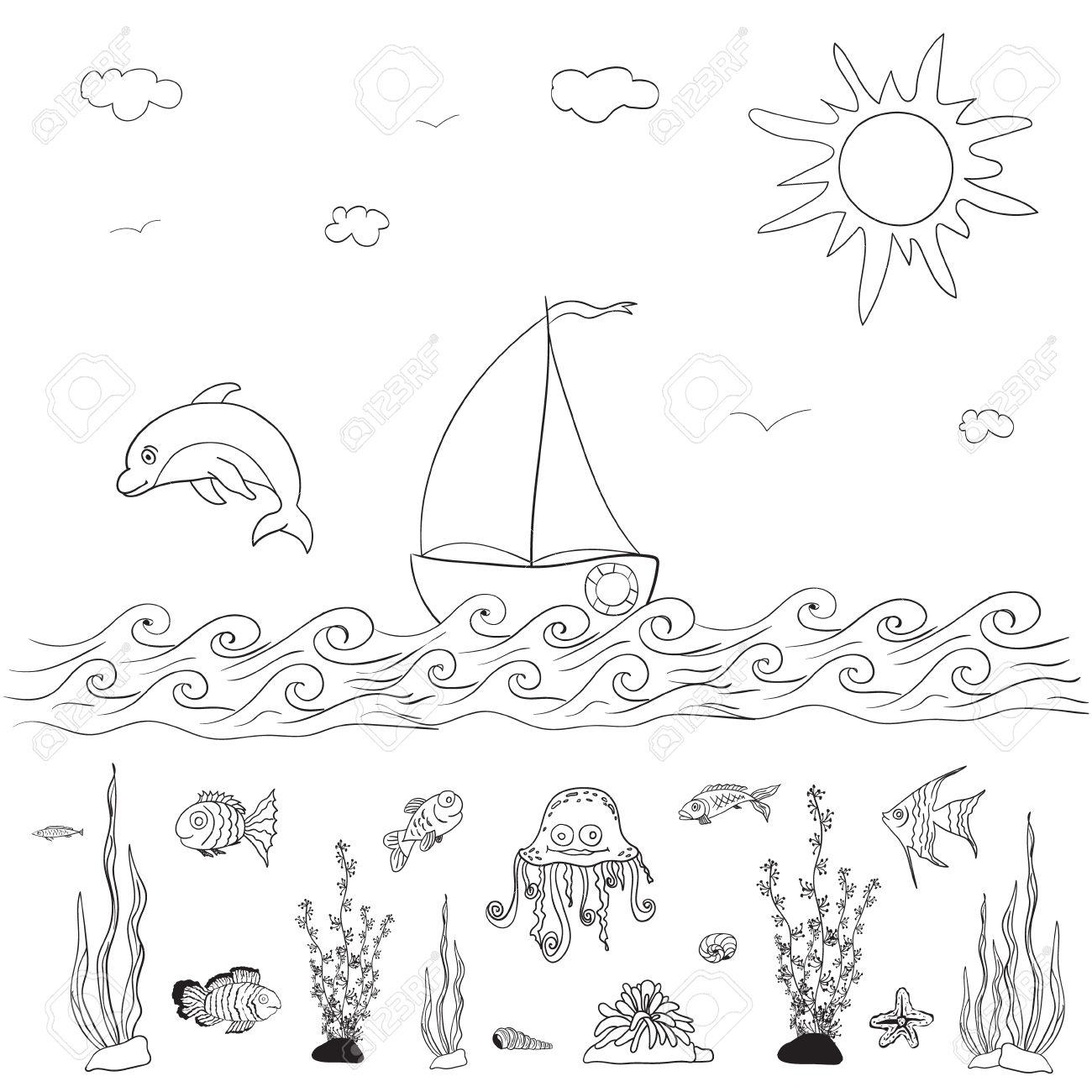 Mar Y Los Peces Para Colorear Páginas Para Niños Ilustraciones