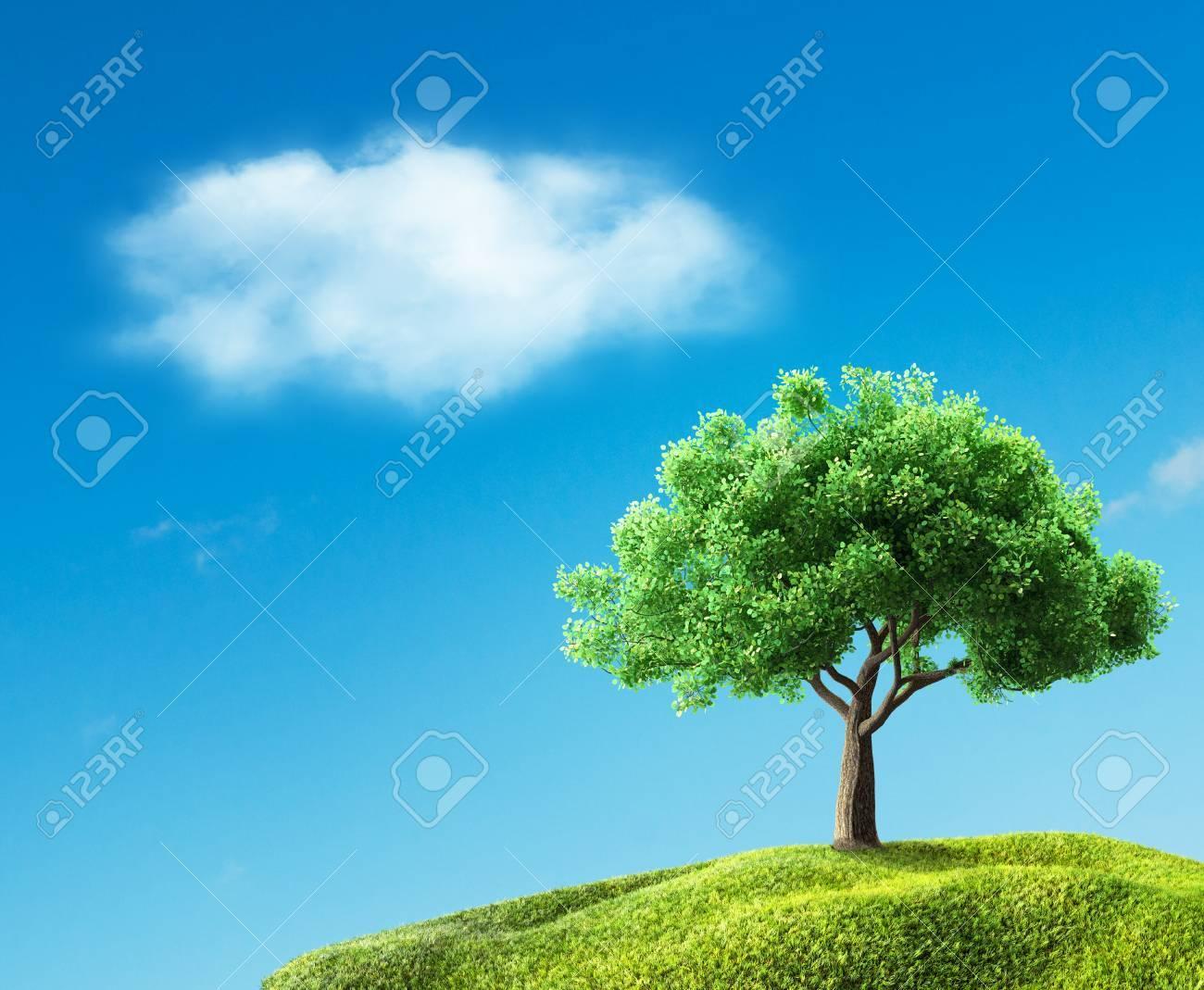 green tree on meadow - 40225105
