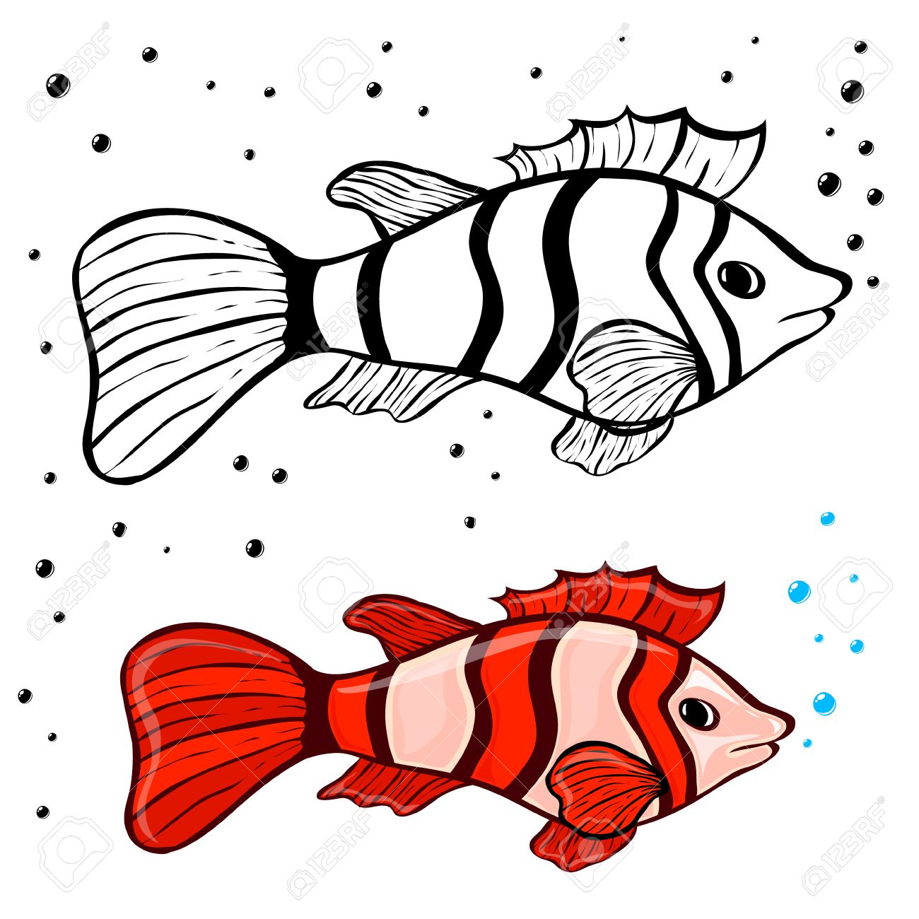 Fish Coloring Pages For Kids Stock Photo, Picture And Royalty Free ...